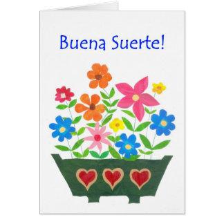 Good Luck Card, Spanish Greeting - Flower Power