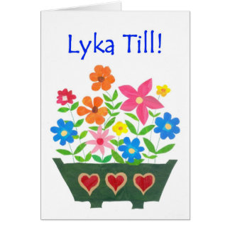 Good Luck Card, Swedish Greeting - Flower Power