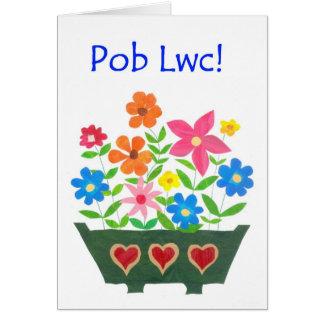 Good Luck Card, Welsh Greeting - Flower Power