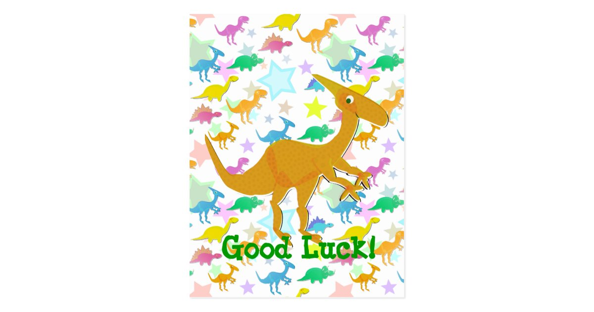 Good Luck Cartoon Dinosaur Postcard Zazzle Com