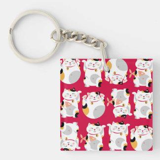 Good luck cat,chinese,feng shui,Maneki Neko,patter Double-Sided Square Acrylic Keychain
