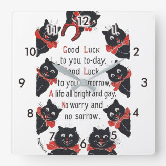 Good Luck Cats, Louis Wain Square Wall Clock