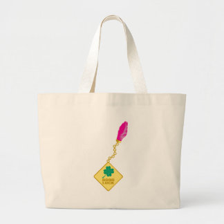 Good Luck Charm - Rabbits Foot Four Leaf Clover Canvas Bags