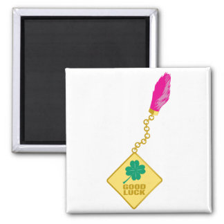 Good Luck Charm - Rabbits Foot Four Leaf Clover Magnet