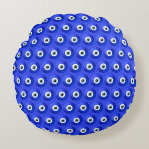 Good Luck Charms against Evil Eye Pattern Round Pillow