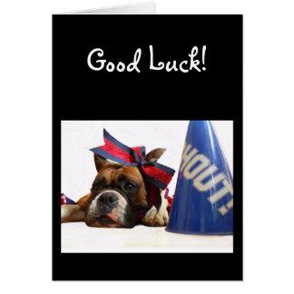 Good Luck Cheerleader boxer greeting card