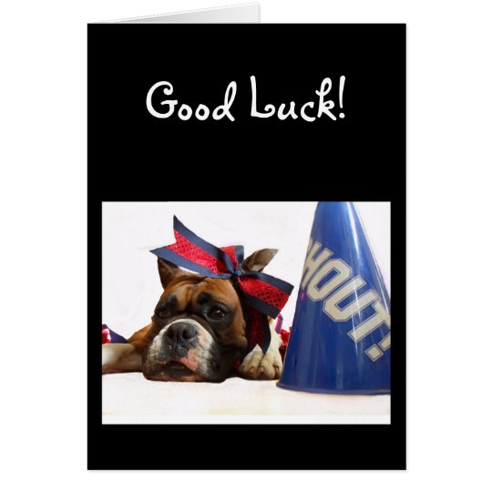 Good Luck Cheerleader boxer greeting card