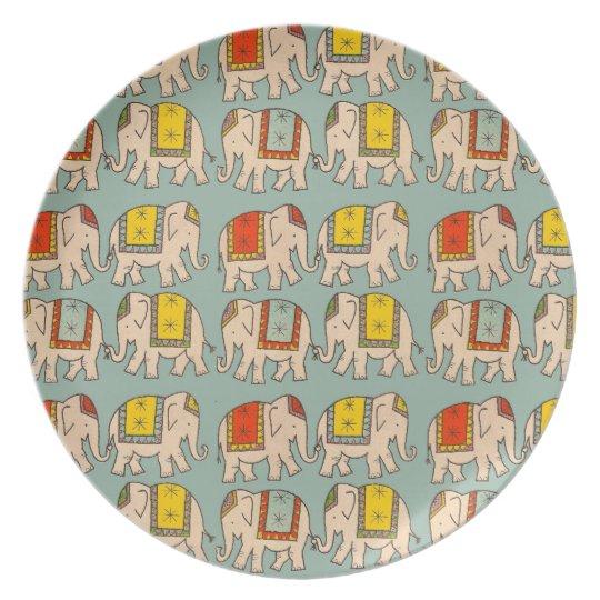 Good luck circus elephants cute elephant pattern dinner plate