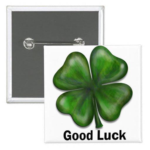Good Luck Clover Button