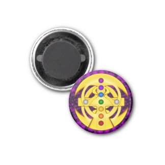 Good Luck Coptic Styled Cross 1 Inch Round Magnet