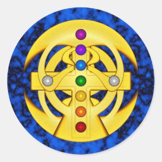 Good Luck Coptic Styled Cross Classic Round Sticker
