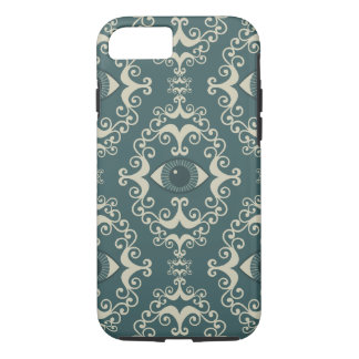 Good luck damask evil eye teal hipster pattern iPhone 7 case