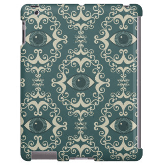 Good luck damask evil eye teal wallpaper pattern