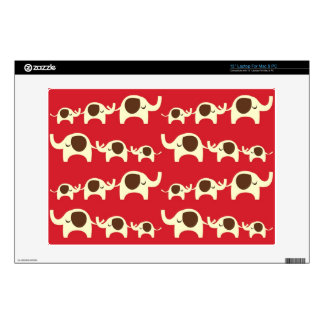 "Good luck elephants cherry red cute nature pattern 13"" laptop skin"