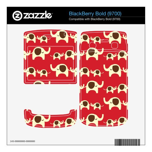 Good luck elephants cherry red cute nature pattern BlackBerry bold skin