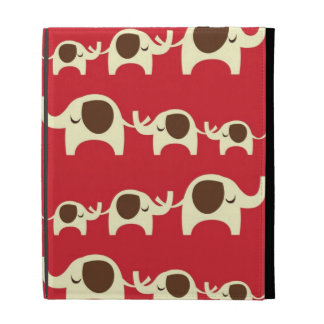 Good luck elephants cherry red cute nature pattern iPad folio covers