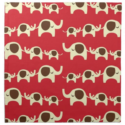 Good luck elephants cherry red cute nature pattern cloth napkins
