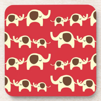 Good luck elephants cherry red cute nature pattern coaster