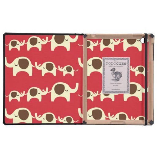 Good luck elephants cherry red cute nature pattern iPad folio case