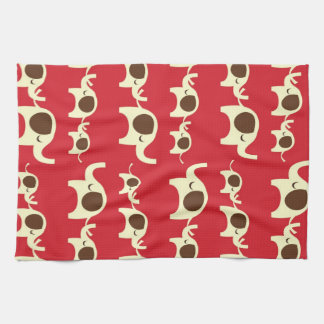 Good luck elephants cherry red cute nature pattern kitchen towel