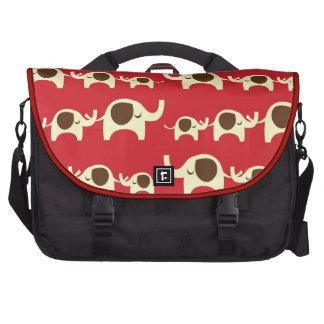 Good luck elephants cherry red cute nature pattern laptop commuter bag