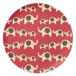 Good luck elephants cherry red cute nature pattern melamine plate
