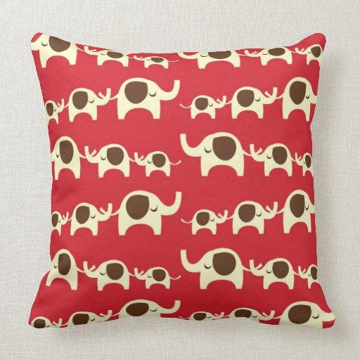 Good Luck Elephants Red Pillow