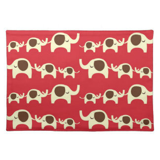 Good luck elephants cherry red cute nature pattern placemat