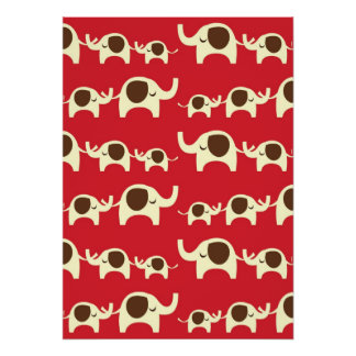 Good luck elephants cherry red cute nature pattern poster