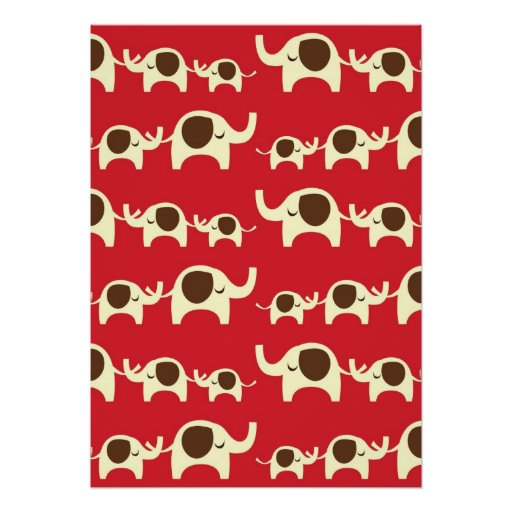 Good luck elephants cherry red cute nature pattern posters