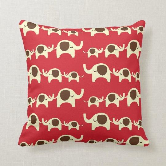 Good luck elephants cherry red cute nature pattern throw pillow