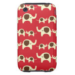 Good luck elephants cute animal nature red pattern tough iPhone 3 cases