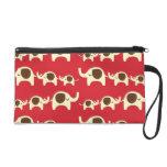 Good luck elephants cute animal nature red pattern wristlet purse