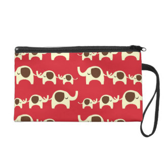 Good luck elephants cute animal nature red pattern wristlet purse