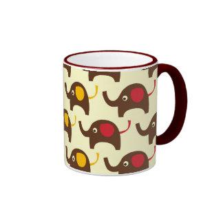 Good luck elephants kawaii cute nature pattern ringer mug