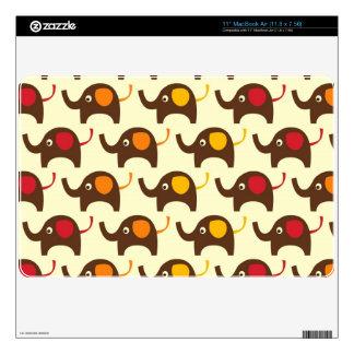"Good luck elephants kawaii cute nature pattern tan decal for 11"" MacBook air"