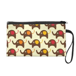 Good luck elephants kawaii cute nature pattern wristlet purse