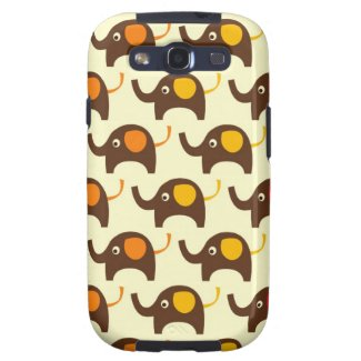 Good luck elephants pattern print Galaxy case tan Galaxy S3 Cover