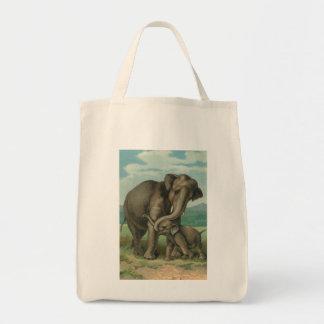 Good luck elephants vintage book illustration tote bags