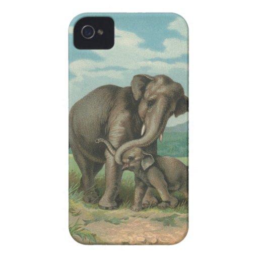 Good luck elephants vintage book illustration iPhone 4 Case-Mate cases