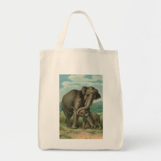 Good luck elephants vintage book illustration tote bag
