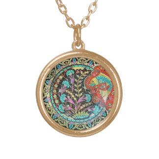 Good Luck Fish Symbol with Botanical Handwork Round Pendant Necklace