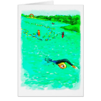 Good Luck for Triathlete - Swimming Off Course Greeting Card