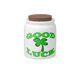 Good Luck Four Leaf Clover Candy Jar