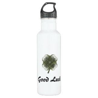 Good Luck Four Leaf Clover Fractal Art 24oz Water Bottle