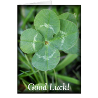 Good Luck Four Leaf Clover Greeting Card