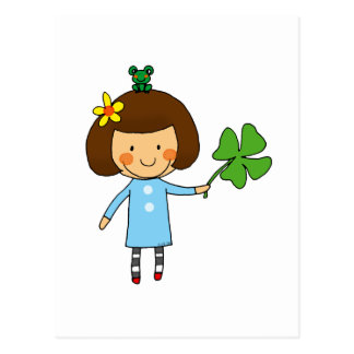 Good luck girl with a four leaf clover post cards