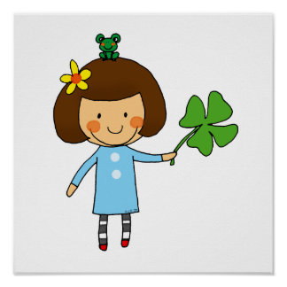 Good luck girl with a four leaf clover poster