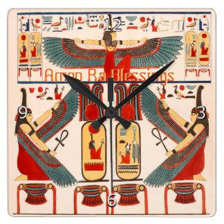 Good Luck Hieroglyphics, Egyptian God Amon Ra Square Wall Clock