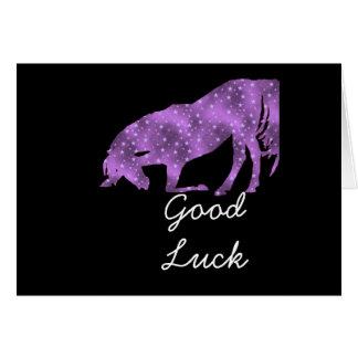 Good Luck Horse Purple horse black silhouette Card